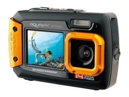 Aquapix W1400 Active Unterwasser-Digitalkamera (14 Megapixel, 6,8 cm (2,7 Zoll) Dual-Display, 4-fach Zoom, Wasserdicht bis 3m) schwarz/orange - 1