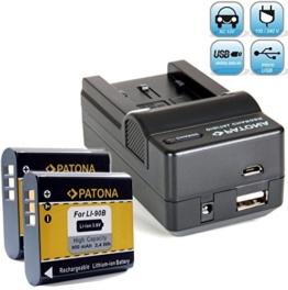 Bundlestar Akku Ladegerät 4 in 1 inkl Ladeschale für Olympus Li-90b Li-92b + 2x PATONA Ersatzakku für Olympus Li-90b Li-92b passend zu -- Olympus Tough TG-1 TG-2 iHS -- Olympus XZ-2 -- Olympus SH-50 SH-60 SP-100EE -- NEUHEIT mit Micro USB Anschluss ! - 1