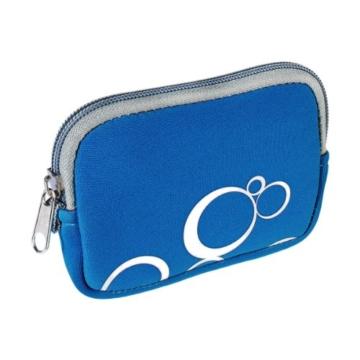 vyvy mobile® stylische Neopren Universal Kameratasche für Kompaktkameras CIRCLES Blau - 2