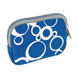 vyvy mobile® stylische Neopren Universal Kameratasche für Kompaktkameras CIRCLES Blau - 1