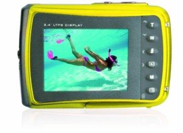 Rückseite der Easypix Unterwasserkamera