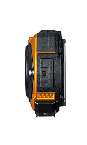 Ricoh Digital Kamera orange Seitenansicht von links