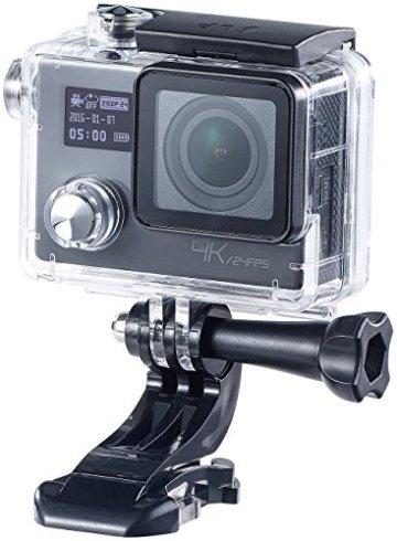 Somikon 4K-Action-Cam in einer Hülle